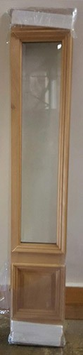 "#Z51801 14"" Single Mahogany Sidelite with 3/4 clear glass (80"" tall)"