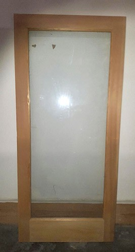 "#Z51806 36"" Interior Pine Slab with Clear Glass B-Grade"