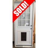 "#Z51904 2'8"" 9-Lite Steel Prehung Door with Pet Door Insert"