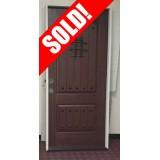 """#Z51909 36"""" x 6'8"""" Pre-finished Fiberglass Door with Speakeasy & Clavos"""