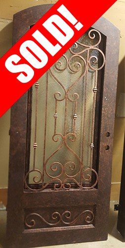 "#Z61802 46"" x 98"" Iron Door with Aquatex Glass"