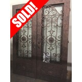"#Z61808 76"" x 98"" Iron Double Door with Aquatex Glass, Square Top"