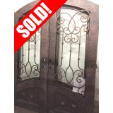 "#Z61809 76"" x 98"" Iron Double Door with Aquatex Glass, Arch Top"
