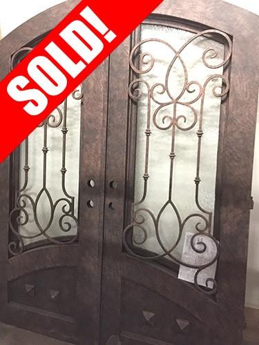 "#Z61809 76"" x 98"" Iron Double Door with Aquatex Glass, Arch Top"