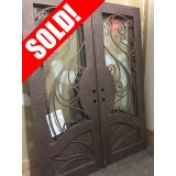 "#Z61810 76"" x 98"" Iron Double Door with Aquatex Glass, Square Top"