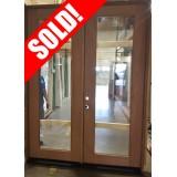"#Z71802 8'0"" Full Lite Mahogany Prehung Wood Double Door Patio Unit"