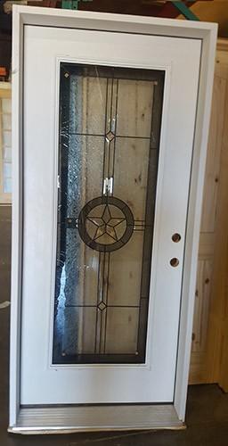 "#Z71804 36"" Texas Star Full Lite Fiberglass Prehung in 6-9/16"" Jamb"
