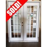 "#Z81901 5'0"" 15-Lite Fiberglass Patio Prehung Outswing Double Door Unit"