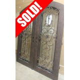 "#Z91806 76""x98"" Iron Double Door with Aquatex Glass"