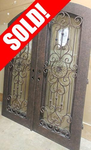 """#Z91806 76""""x98"""" Iron Double Door with Aquatex Glass"""