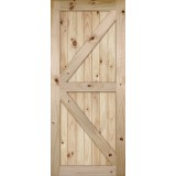 "7'0"" Tall K-Bar V-Grooved Knotty Pine Barn Door Slab"