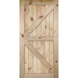"7'0"" Tall x 42"" Wide K-Bar V-Grooved Knotty Pine Barn Door Slab"