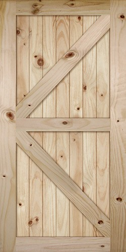 "7'0"" Tall x 42"" Wide K-Bar V-Grooved Knotty Pine Barn Door Slab"