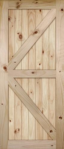 """7'0"""" Tall K-Bar V-Grooved Knotty Pine Barn Door Slab"""