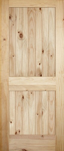 "7'0"" Tall Wide 2-Panel V-Grooved Knotty Pine Barn Door Slab"