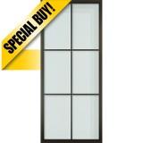 "36"" x 84"" Modern 6-Lite Steel Barn Door & 72"" Hardware Kit"