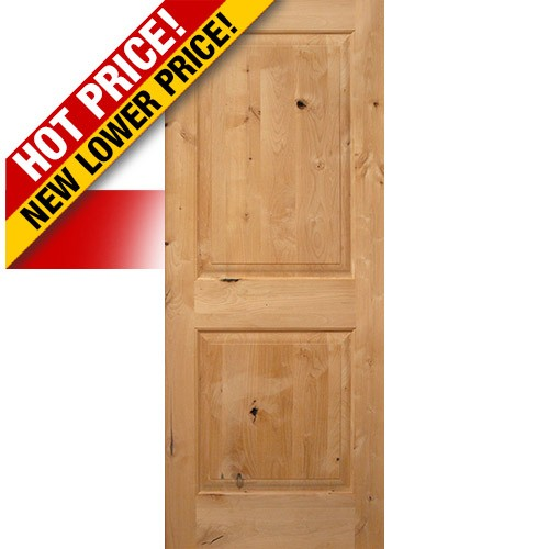 "Interior 6'8"" x 1-3/4"" 2-Panel Square Top Knotty Alder Interior Wood Door Slab"
