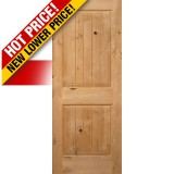 "Interior 6'8"" x 1-3/4"" 2-Panel Square Top V-Groove Knotty Alder Interior Wood Door Slab"