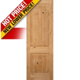 "Interior 8'0"" x 1-3/4"" 2-Panel Square Top V-Groove Knotty Alder Interior Wood Door Slab"