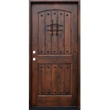 Rustic 2-Panel Arch Knotty Alder Prehung Wood Door Unit #620