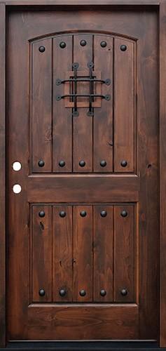 Rustic 2-Panel Arch Knotty Alder Prehung Wood Door Unit #620