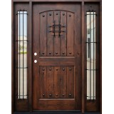 Rustic 2-Panel Arch Knotty Alder Prehung Wood Door Unit with Sidelites #620