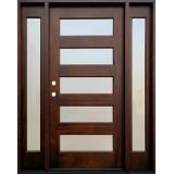 Modern 5-Lite Mahogany Prehung Wood Door Unit with Sidelites #605
