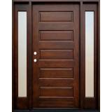 Modern 5-Panel Mahogany Prehung Wood Door Unit with Sidelites #616