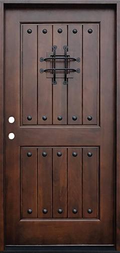 Rustic 2-Panel Mahogany Prehung Wood Door Unit #621