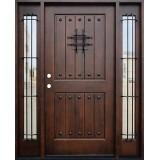 Rustic 2-Panel Mahogany Prehung Wood Door Unit with Sidelites #621
