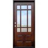 9-Lite Prairie Mahogany Prehung Wood Door Unit #632