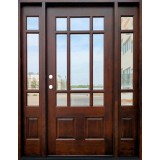 9-Lite Prairie Mahogany Prehung Wood Door Unit with Sidelites #632