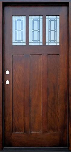 Craftsman 3-Lite Deco Mahogany Prehung Wood Door Unit #638