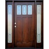 Craftsman 3-Lite Deco Mahogany Prehung Wood Door Unit with Sidelites #638