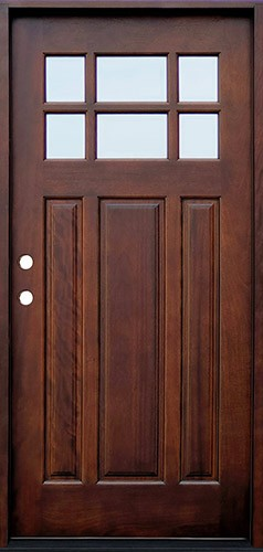 Craftsman 6-Lite Mahogany Prehung Wood Door Unit #643