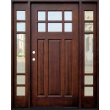 Craftsman 6-Lite Mahogany Prehung Wood Door Unit with Sidelites #643
