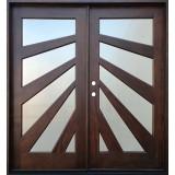 Starburst Mahogany Prehung Wood Double Door Unit #677